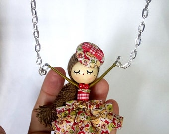 Acrobat ooak doll necklace