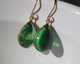 Peridot green tear drop jewel beaded earrings