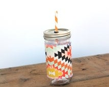 Serape - Mason Jar cup  24 oz large Tumbler w sleeve- travel mug - teachers gift - mothers day- candy swirl straw included