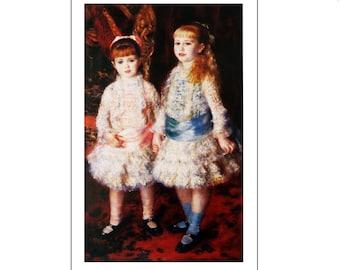 "Pierre-Auguste Renoir, ""Rose et Bleu"", Vintage Color Book Plate of 1881, Unframed Fine Art Book Plate"