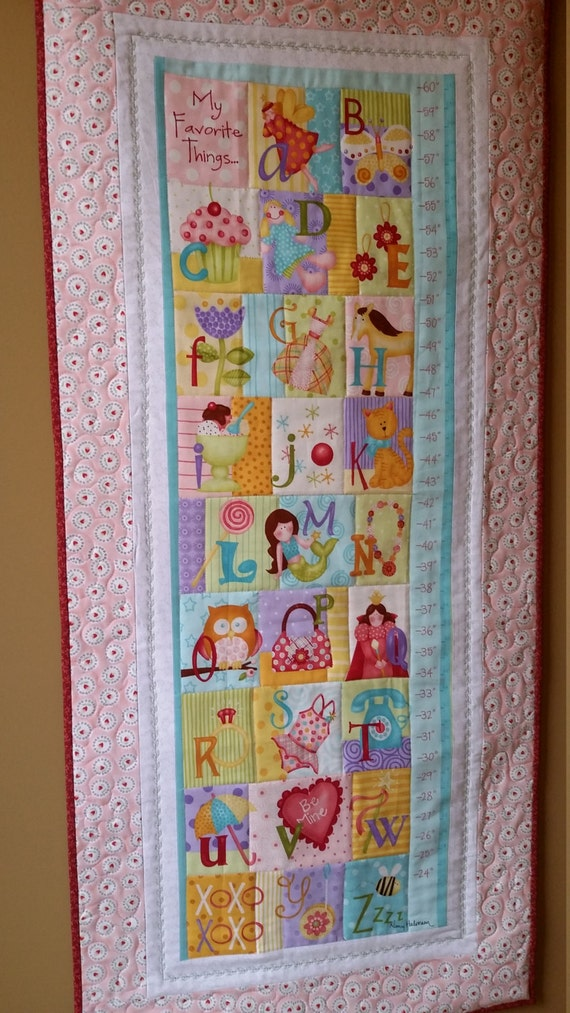 Childrens growth chart pastel quilt fabric growth chart for Childrens quilt fabric
