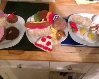 Crochet play food crochet hamburger corchet pizza donut eggs cookies hotdog