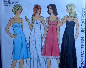 Plus Size Fitted Slip Pattern Style 1462 Empire Waist Maxi Length Knee Length Size 18 and 20