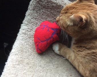 Psycho Kitty anatomical Heart catnip stuffed cat toy