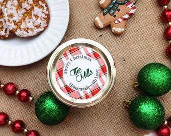 Printable Personalized Christmas Plaid Mason Jar Labels/Stickers