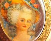 Sale 20 Antique vintage Victorian lady portrait cameo locket pendant