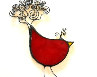 Stained glass RED BIRD, ornement, suncatcher, glass bird