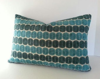 Decorative Teal Blue Pillow Cover / Geometric Teal Blue Chenille Pillow Cover / Squares / Lumbars and Euro Shams