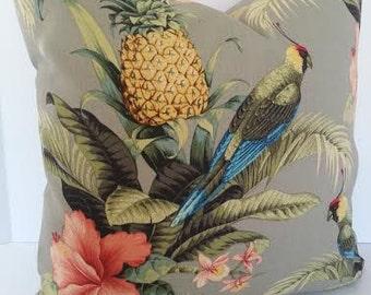 Tropical Bird / Pineapple Pillow Cover - 18x18 - 20x20 - 22x22 - 24x24 Euro Sham - Standard - Queen - King Pillow