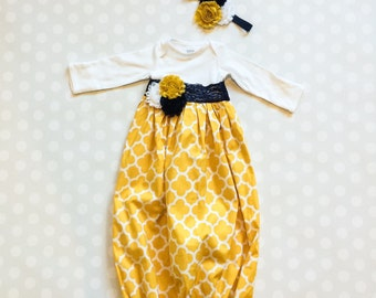 Baby Girl Layette Gown - Mustard and Navy - Baby Homecoming Outfit - Baby Photo Outfit - Newborn Gift - Baby Shower Gift