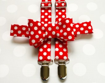 Polka Dot Suspenders and Bow Tie for Boys in Red - Red Suspenders - Red Boys Suspenders - Boys Outfits - Boys Suspenders - Bow Tie Set