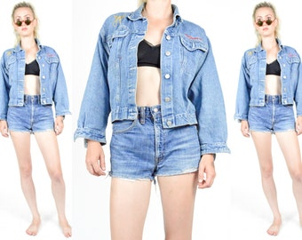 1990's DENIM JACKET. Touched By an Angel Embroidered -  Blue Denim. 90's Grunge. Slim Fitted Crop Cut.  Size S/M. 80s 90s denim coat