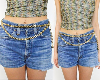 1990's GOLD CHAIN LINK Double Layered Chain Belt. 80's 90's Grunge Goth Punk
