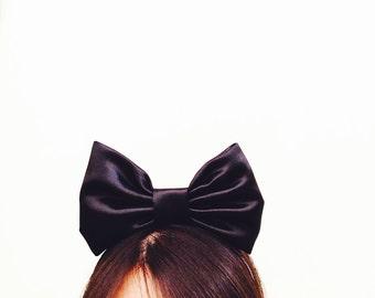 Alice in Wonderland Black Satin Cute Top Bow Headband