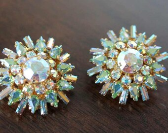 EARRINGS - AUSTRIA - aurora borealis - gold - STARBURST - clip on earrings - wedding