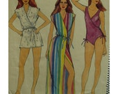 """80s Side Wrap Swimsuit, Front and Back V-neck, Side Leg Rouching, V-Neck Cover-up, Wrap, Blouson, Butterick No.3902 Size 16  (Bust 38"""" 97cm)"""