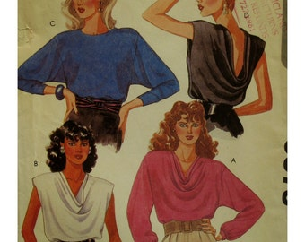 Pullover Draped Neck Pattern,Front/Back Drape,Sleeveless/Long/Dolman Sleeves, McCalls 9378 Cut Size Medium 14-16 OR Uncut Size Large 18-20