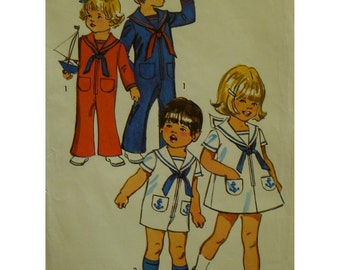 Toddlers Sailor Suit Pattern, Jumpsuit, Romper, Dress, Zipper Front, Short/Long Sleeves, Pockets, Collar, Tie, Simplicity No. 9947 Size 1