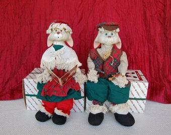 Vintage Christmas Around the World Grannie Flo Bunny and Grandpa Lloyd House of Lloyd Bisque Sitting Christmas Figures circa 1996