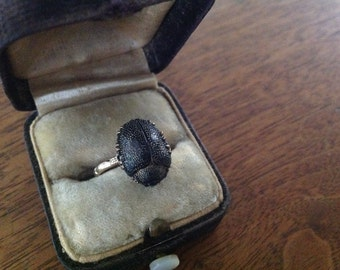 Antique real scarab beetle ring gold filled