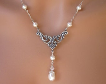 Pearl Necklace Silver Art Nouveau Sterling Silver Anti-Tarnish Cable Chain Women's Wedding Bridal Party Jewelry Gift