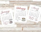 2016 Printable Coffee Calendar