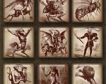 Vintage Demons 1 Inch Digital Images for Instant Download