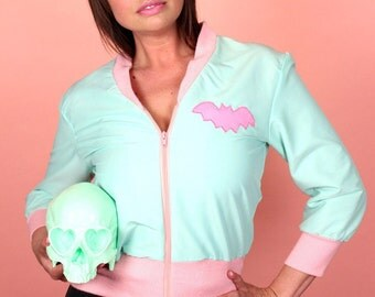 Louie Bats Mint and Pink Bomber Jacket