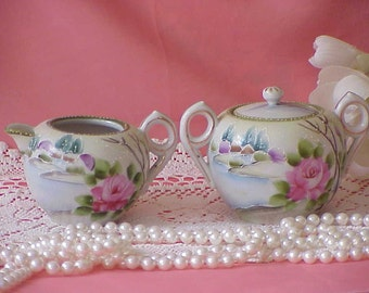 Beautiful Vintage Hand Painted Nippon Sugar and Creamer