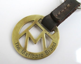 Marlboro Brand Key Chain - Vintage Solid Brass & Leather, Made in USA