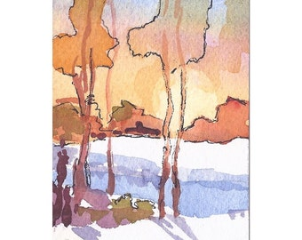 ACEO Landscape Original Watercolor & Ink Tree Hills Fall Sunset  Miniature Painting Art Trading Card  Small Format Art