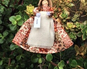 Prairie clothespin doll ORNAMENT - brown, beige, red, ivory patchwork dress - ready to ship