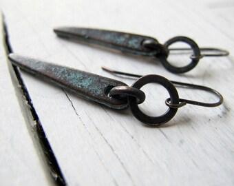 Spike Earring, Bohemian Jewelry,  Hoop Dangle Earring, Mykonos Casting, Copper Patina, Hippie Bijoux, Boho Chic,  Long  Dangle Earrings