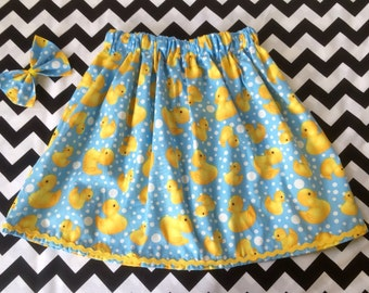 Childrens Rubber Ducky skirt and bow set