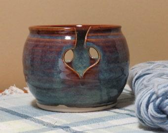 Pottery Yarn Bowl for Knitting in Opal Glaze
