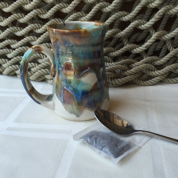 Stoneware Pottery Coffee or Tea Mug cup in Tricolor Glaze