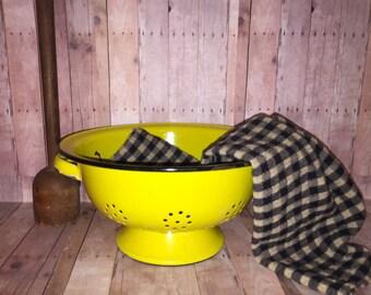 Bright Yellow Enamelware Colander - Black Rims - Srainer - Fabulous Used Look - Yellow Enamel