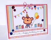 Happy Birthday Monkey Greeting Card - Handmade Paper Card for Kids, Adult Birthday Card