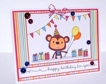 Happy Birthday Monkey Greeting Card - Handmade Paper Card for Kids, Adult Birthday Card