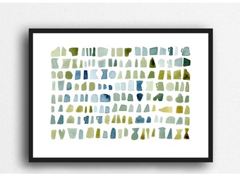 Beach finds blue green watercolor painting, natural painting, abstract watercolor print