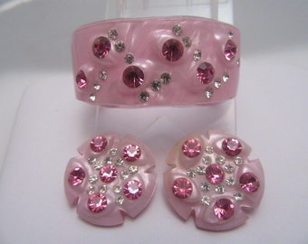 Pink Lucite and Rhinestone Clamper Bracelet and Earrings Set