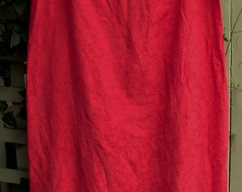 Retro Red Sheath/ Size 12 Red Dress/ Vintage Rayon Dress/ Shabbyfab Funwear