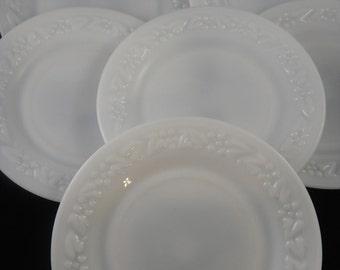 Hazel Atlas Milk Glass Seven Inch Plates (6) Embossed Floral