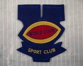 """Large 5"""" Vintage Felt Embroidered SEW ON Varsity Patch World Staff Sport Club Football Letterman Jacket Collectible Athletic Patch Blue"""