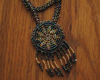 vintage beaded rosette necklace