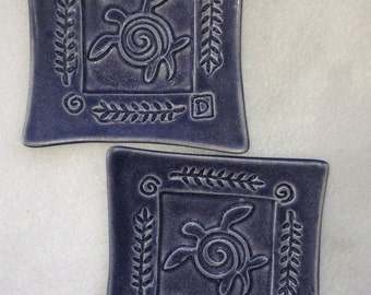 Sea Turtle Square Plates (set of 2) Amethyst Stoneware   #sea turtle  #small plates  #entertaining