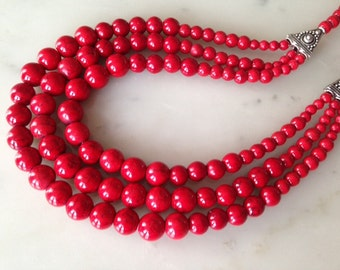 RED FIRE_red statement necklace, Best Seller, big, bold, chunky, multi-strand, cascade necklace, earrings set