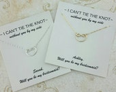 Tie the knot Necklace, 14K Gold Filled, Be My Bridesmaid, Bridesmaid Necklace, Proposal, Knot Necklace, Wedding Jewelry, Wedding Gift Ideas