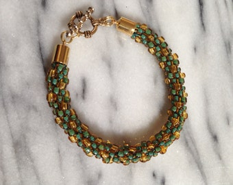 Teal and Gold Beaded Kumihimo Bracelet *FUNDRAISING ITEM*