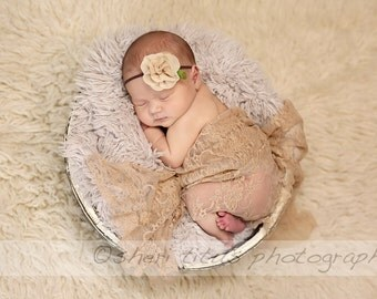Beige Newborn Photo Prop Lace Wrap - Newborn Wrap - Light Tan Lace Wrap - Newborn Photo Prop - Newborn Wrap with Matching Headband Set